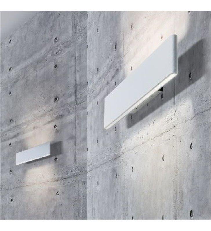 Podłużny wąski nowoczesny kinkiet Norman LED biały do salonu sypialni na korytarz