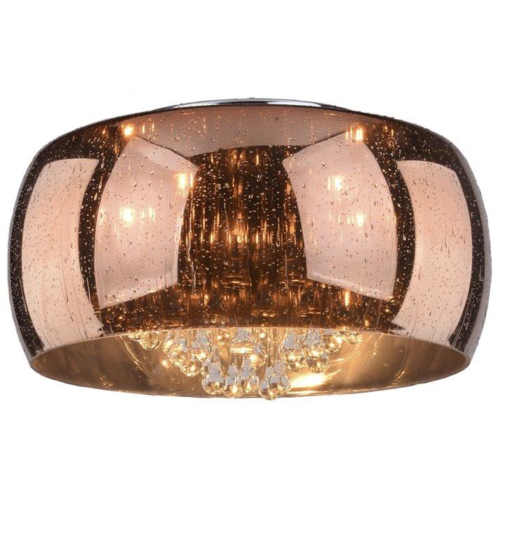 Plafon Buzz 500 szklany w kolorze miedzi od wewnątrz ozdobiony kryształami