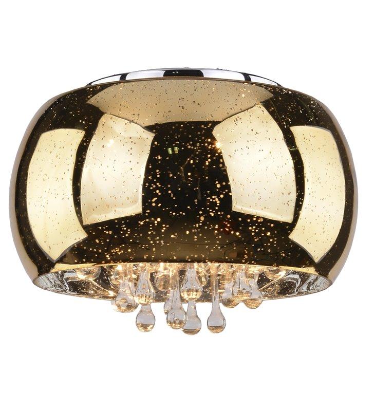 Plafon Astral 500 klosz szklany złoty ozdobiony kryształami do salonu sypialni na przedpokój