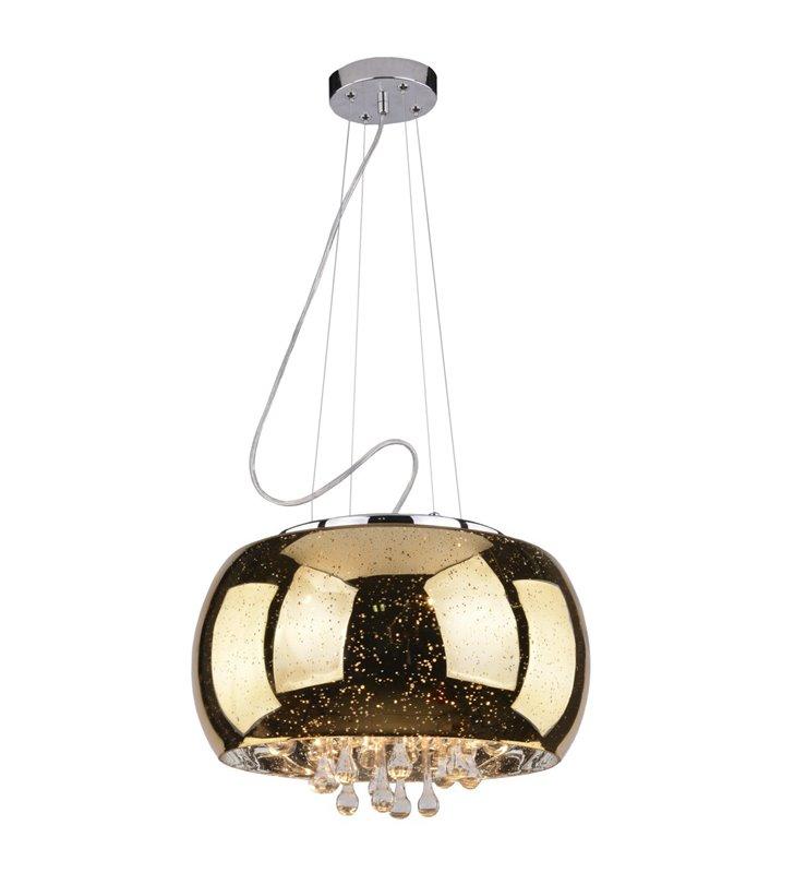 Lampa wisząca Astral złota klosz szklany wewnątrz kryształki do salonu sypialni jadalni nad stół