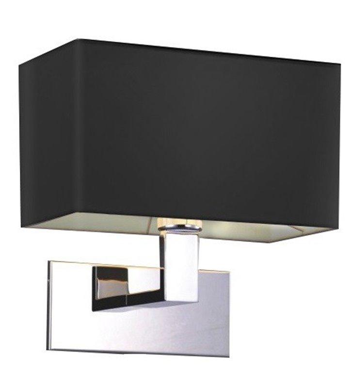 Kinkiet Martens korpus chrom abażur prostokątny czarny do sypialni salonu na przedpokój