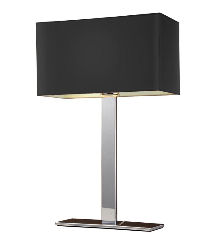 Lampa stołowa Martens czarna abażur prostokątny tekstylny podstawa chrom- DOSTĘPNA OD RĘKI