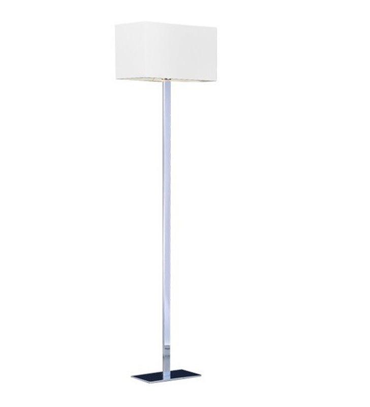Lampa podłogowa Martens podstawa chrom abażur biały prostokątny do jadalni salonu sypialni pokoju hotelowego