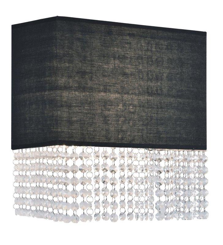 Kinkiet Glamour czarny prostokątny abażur ze zwisającymi kryształkami do salonu sypialni jadalni na przedpokój
