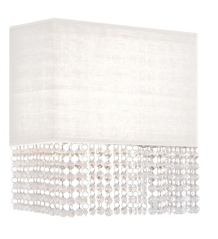 Kinkiet Glamour biały prostokątny abażur tekstylny z dekoracyjnymi kryształkami do salonu jadalni sypialni na przedpokój