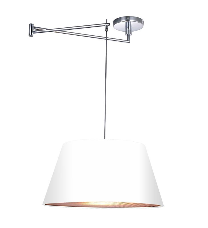 Nowoczesna pojedyncza biała lampa wisząca z ruchomym ramieniem Natalia do salonu jadalni kuchni sypialni - DOSTĘPNA OD RĘKI