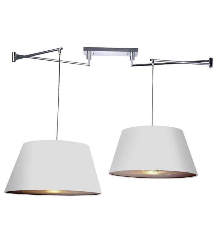 Biała podwójna lampa wisząca z regulacją rozstawu zwisów z ruchomymi ramionami Natalia do kuchni jadalni sypialni