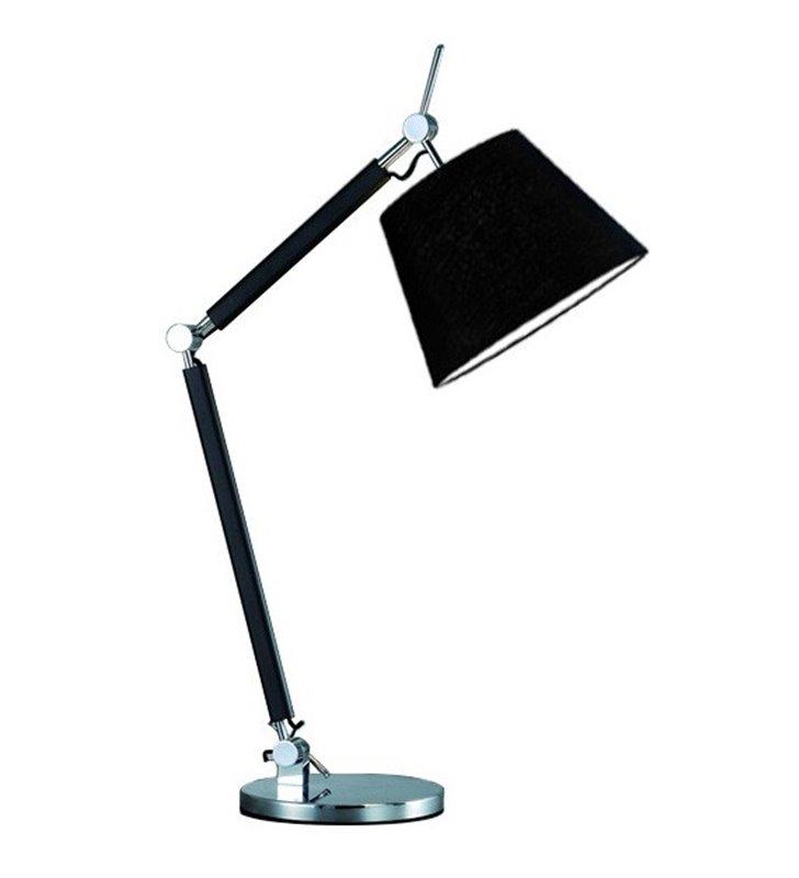Lampa stołowa Zyta czarna z elementami w chromie nowoczesna łamane ramię