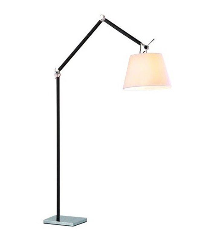 Lampa podłogowa Zyta biały abażur podstawa czarna z elementami chromowanymi podstawa łamana
