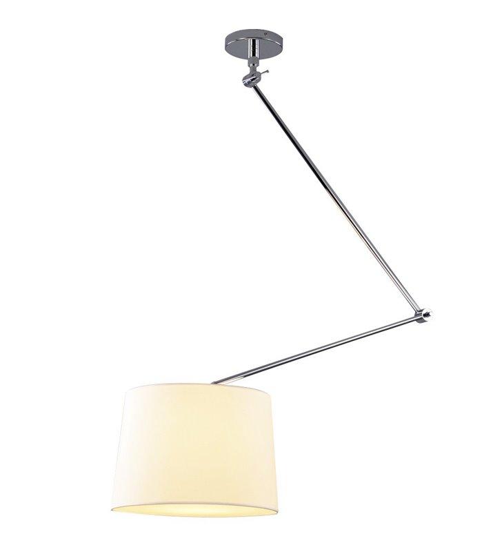 Lampa wisząca Adam z ruchomym łamanym ramieniem biała pojedyncza