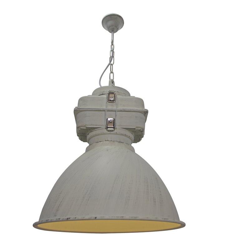Loftowa lampa wisząca Bismarck metalowa w kolorze patynowanej bieli
