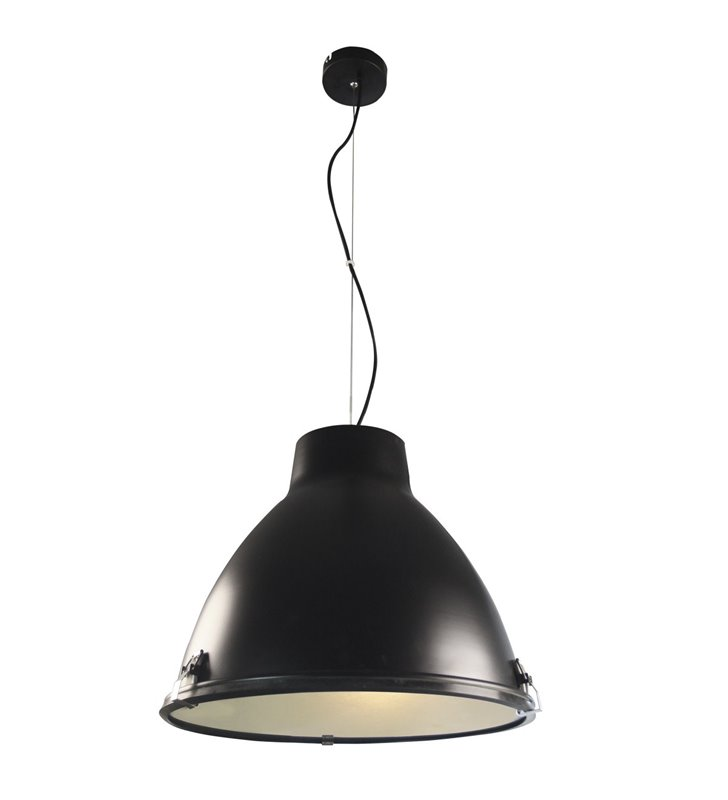 Lampa wisząca Tyrian metalowa ze szklaną przesłoną czarna w stylu loftowym industrialnym