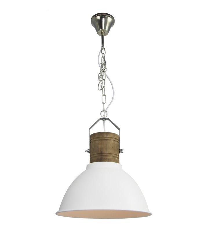 Lampa wisząca Duncan metalowa z drewnianym wykończeniem do salonu jadalni kuchni sypialni styl loftowy