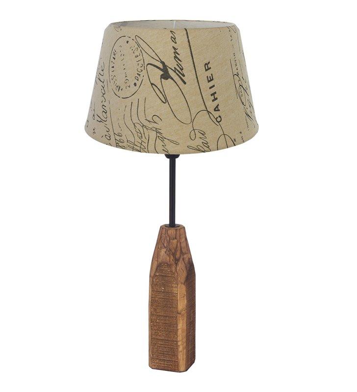 Lampa stołowa Rinsey w stylu vintage drewniana podstawa abażur tekstylny z nadrukiem