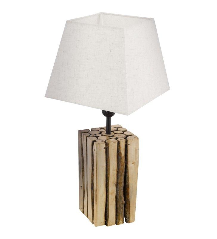 Lampa stołowa Ribadeo podstawa drewniana abażur trapezowy w kolorze kremowym