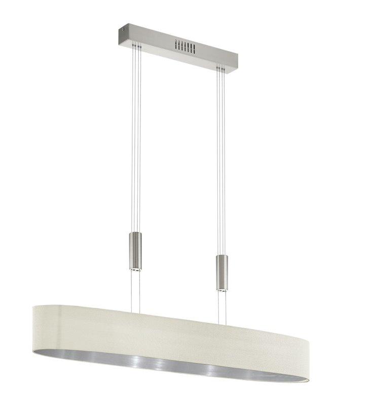 Duża kremowa podłużna lampa wisząca Romao1 LED do kuchni jadalni salonu nad stół