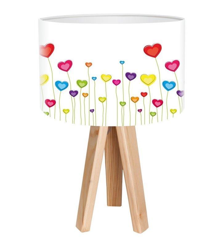 Lampa stołowa do pokoju dziecka na drewnianym trójnogu Łąka Serc