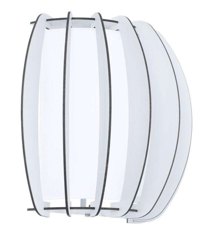 Kinkiet Stellato2 biały drewniany z dodatkowym szklanym kloszem