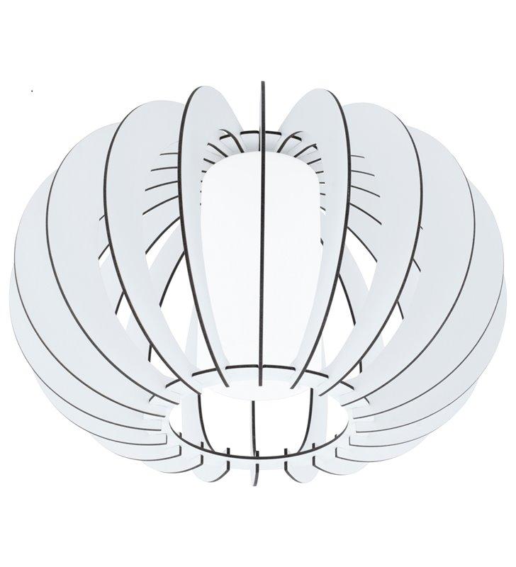 Lampa sufitowa Stellato2 biała drewniana ze szklanym kloszem od wewnątrz