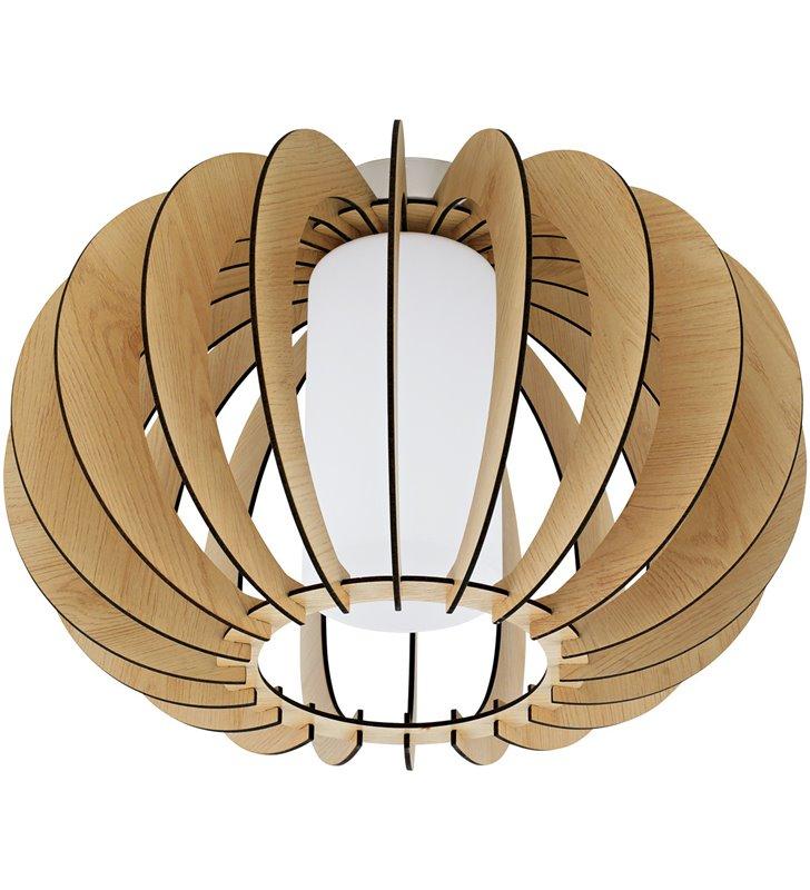 Lampa sufitowa Stellato1 drewniana w kolorze klonu szklany klosz od wewnątrz