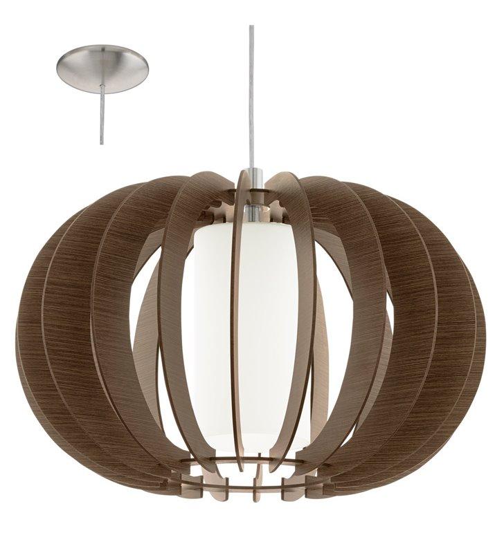 Stellato3 drewniana brązowa lampa wisząca z dodatkowym szklanym kloszem
