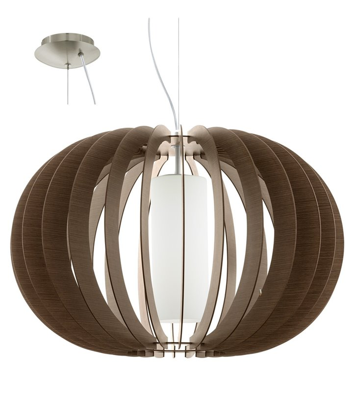 Stellato3 duża brązowa lampa wisząca z drewna na długim zwisie