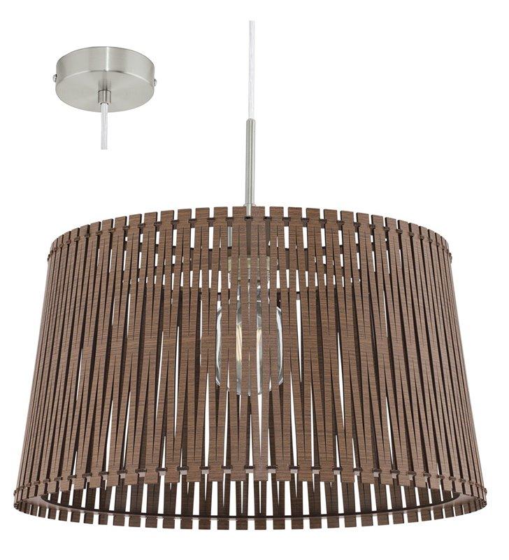 Okrągła ciemnobrązowa lampa wisząca Sendero z drewnianym abażurem do salonu jadalni kuchni sypialni nad stół