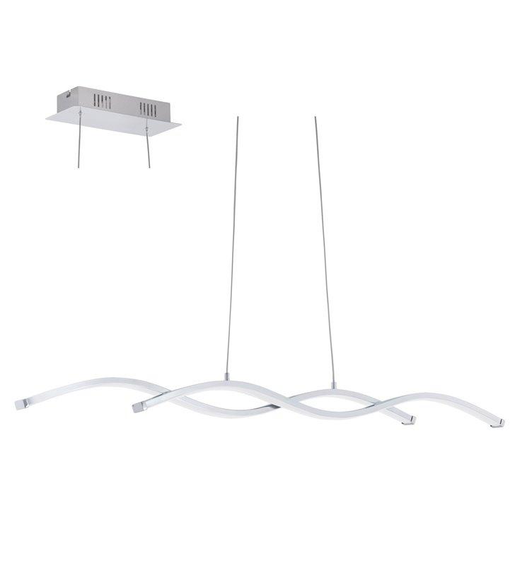 Podłużna lampa wisząca Lasana2 LED chrom styl nowoczesny nad stół do jadalni kuchni salonu biura