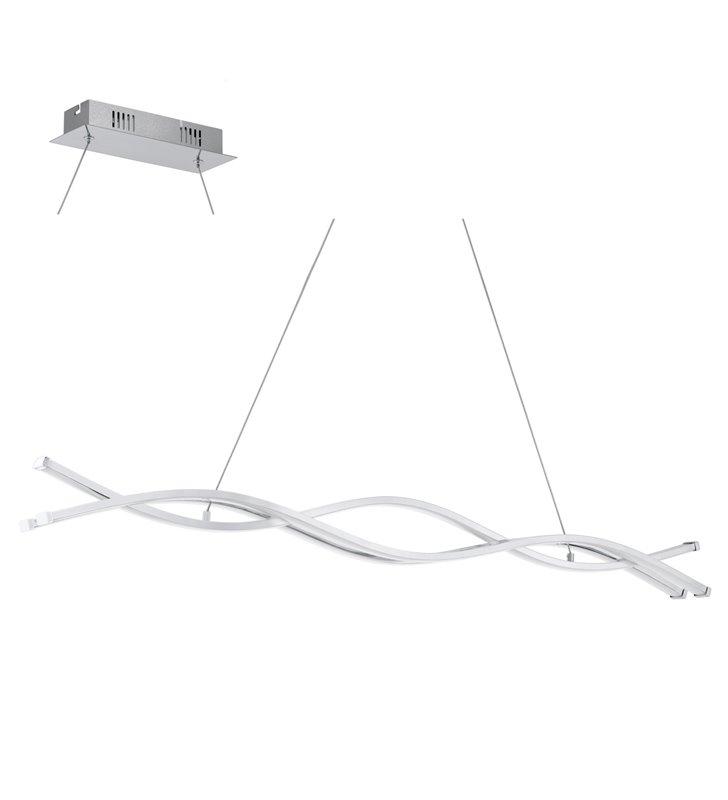 Podłużna metrowa lampa wisząca Lasana2 LED chrom styl nowoczesny do biura do jadalni kuchni nad stół do salonu