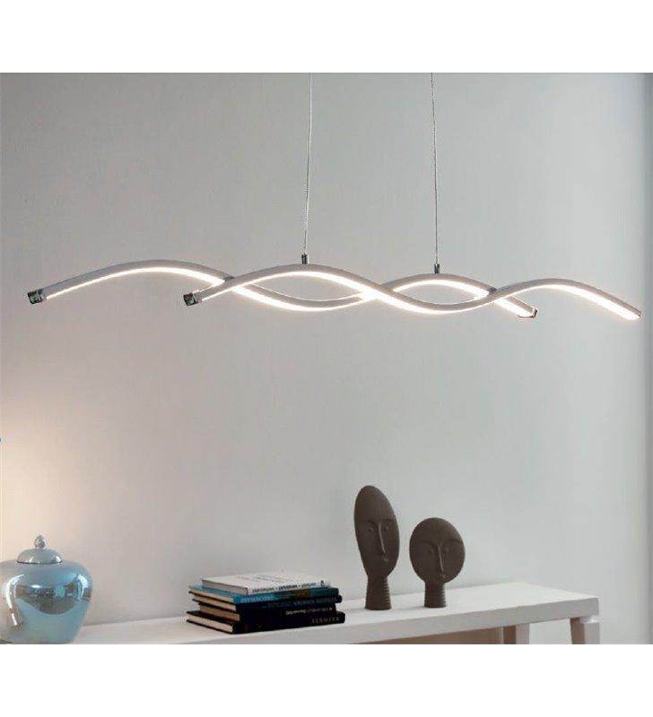 Lampa wisząca Lasana2 LED długa chromowana nowoczesna do biura jadalni kuchni nad stół do salonu