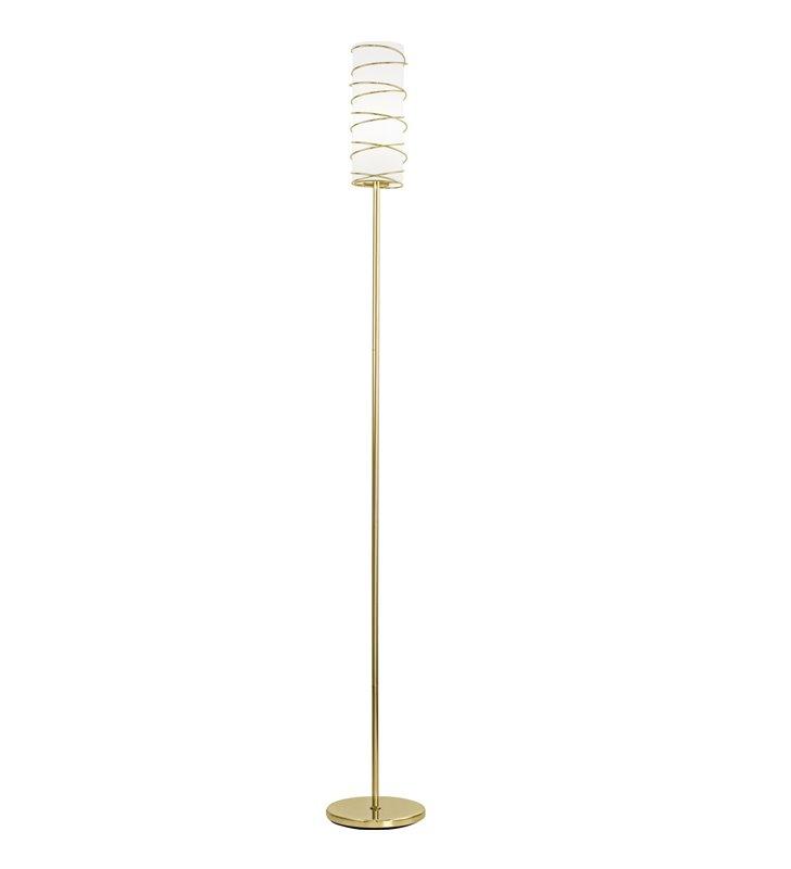 Lampa podłogowa Tarragona wąska kolor mosiądz klosz biały szklany z mosiężną opaską