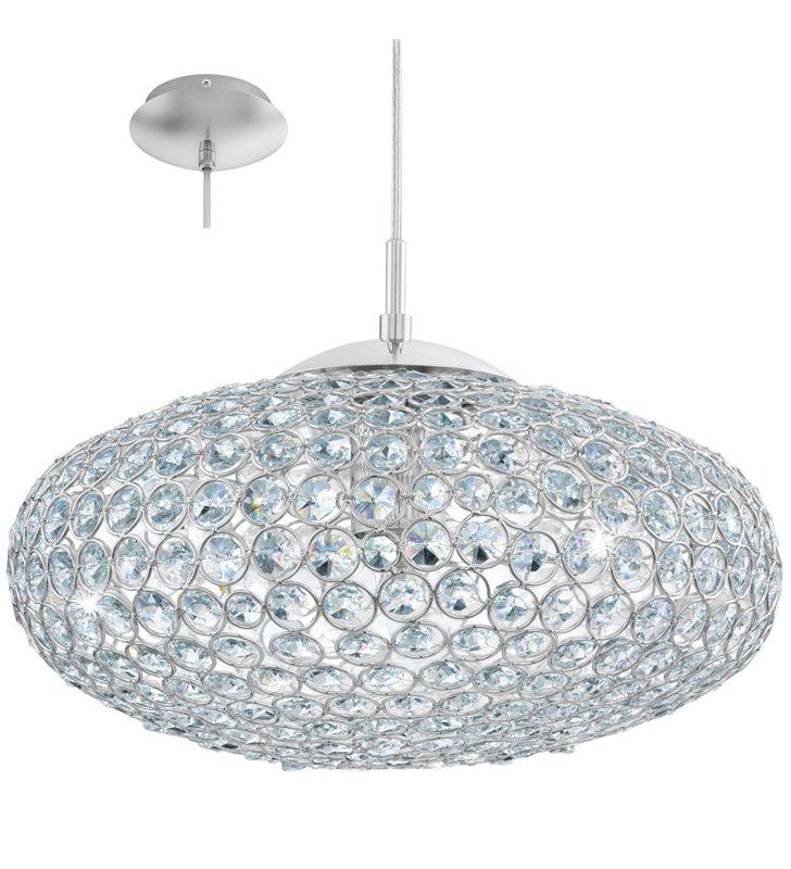 Lampa wisząca Clemente okrągła kryształowa z chromowanym wykończeniem