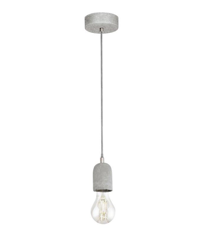 Pojedyncza lampa wisząca Silvares kabel do żarówki beton