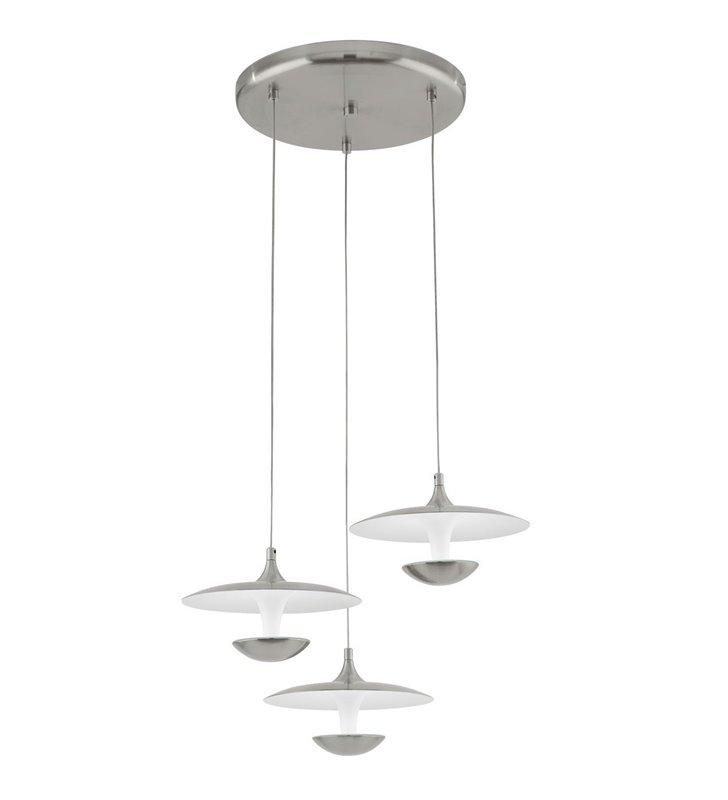 Lampa Toronja LED długa 3 zwisowa nowoczesna na okrągłej podsufitce