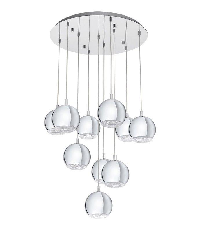 Wielopunktowa długa lampa pokojowa Conessa chrom klosze okrągłe z ozdobnym wykończeniem nad stół schody do salonu sypialni
