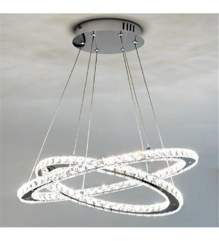 Elegancka lampa wisząca Varrazo LED dwie kryształowe obręcze