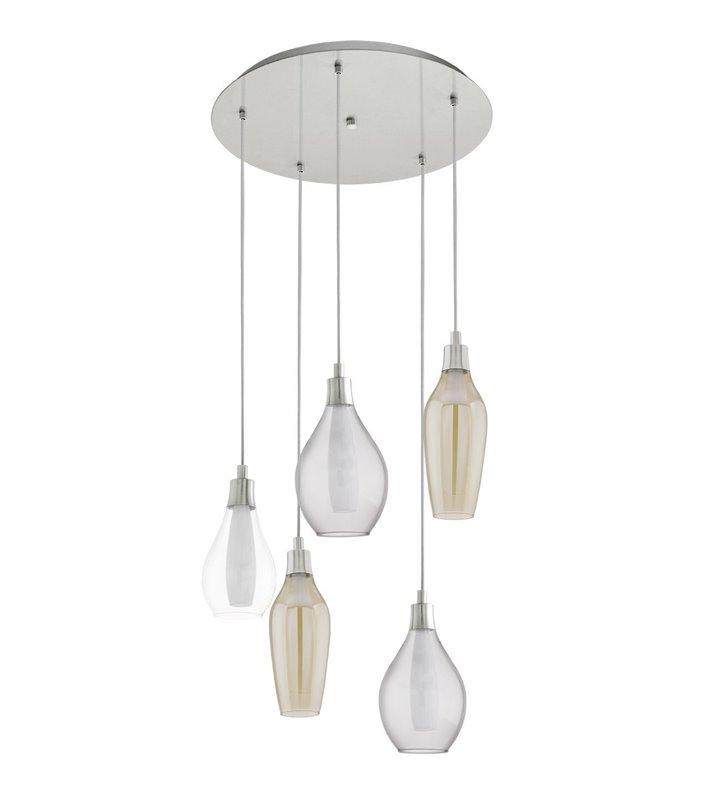Lampa wisząca Pontevedra 5 płomienna różne szklane klosze elegancka subtelna do jadalni kuchni nad schody stół