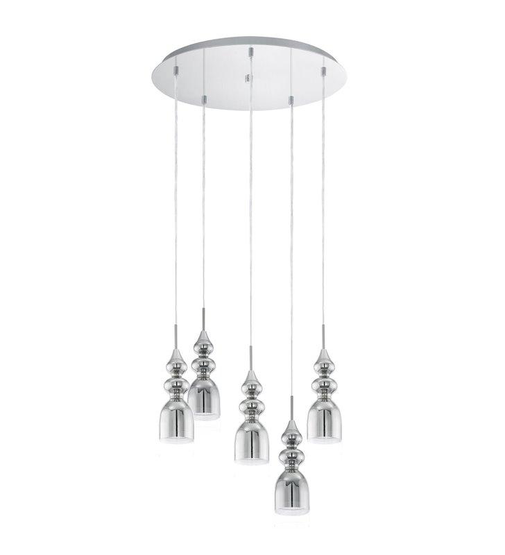 5 zwisowa lampa Bolanos okrągła podsufitka kolor chrom styl glamour