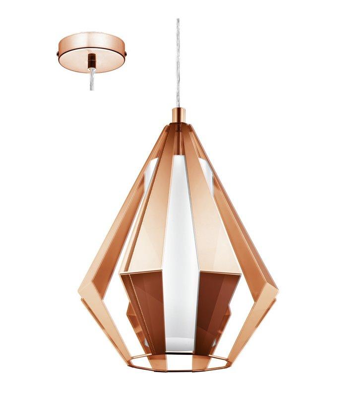 Miedziana metalowa lampa wisząca Taroca z dodatkowym szklanym kloszem styl nowoczesny