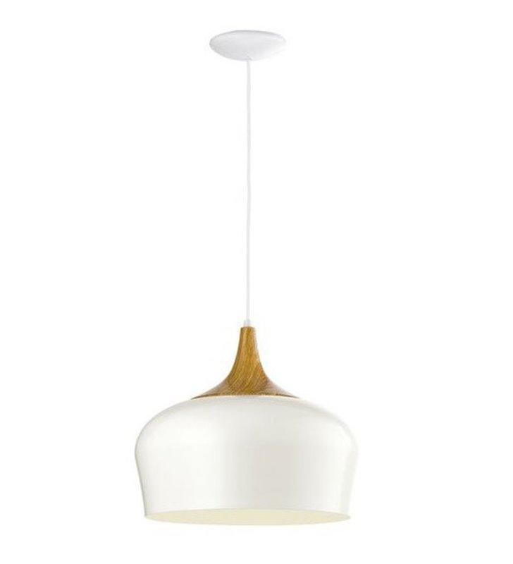 Kremowa nowoczesna lampa wisząca z dębowym drewnianym wykończeniem Obregon