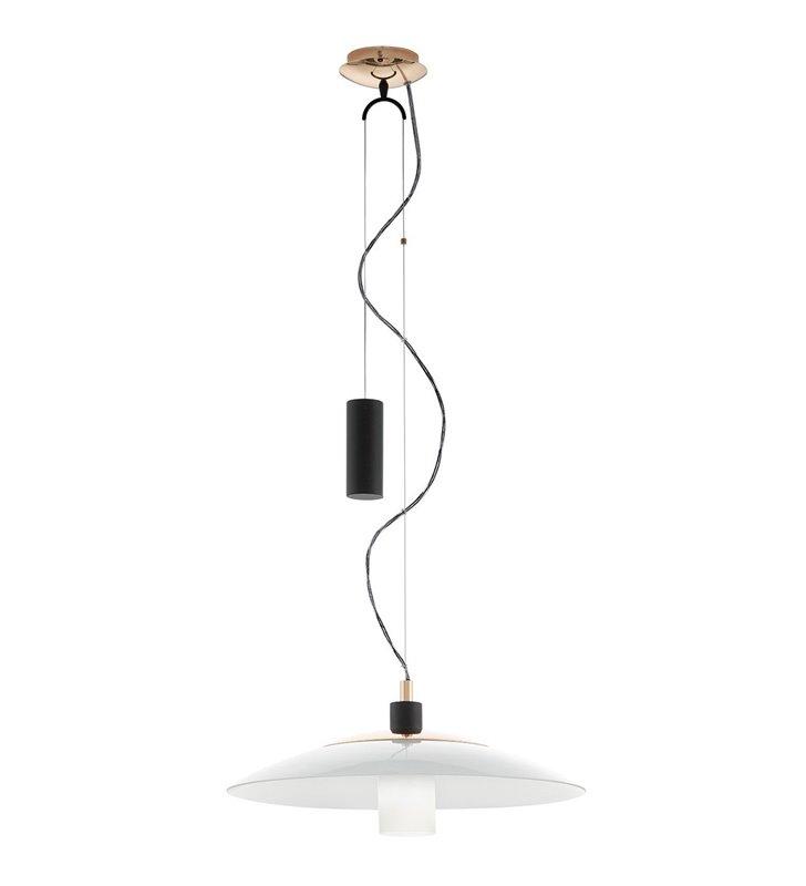 Czarno miedziana regulowana lampa wisząca Cabral z białym szklanym kloszem