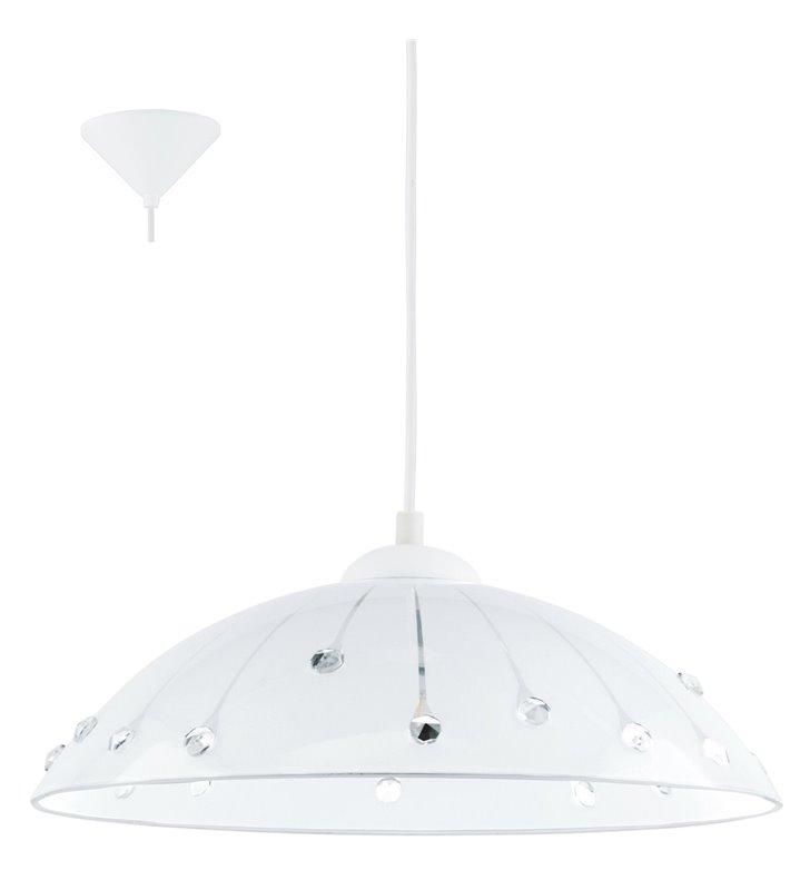 Lampa kuchenna Vetro klosz szklany biały zdobiony kryształkami