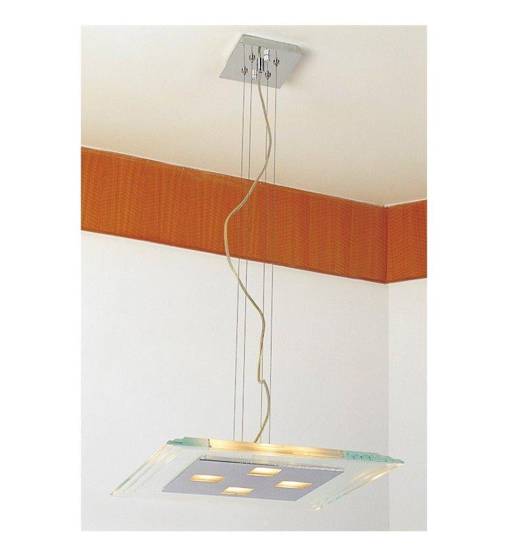 Lampa wisząca Pascal kwadratowa nowoczesna klosz z bezbarwnego szkła