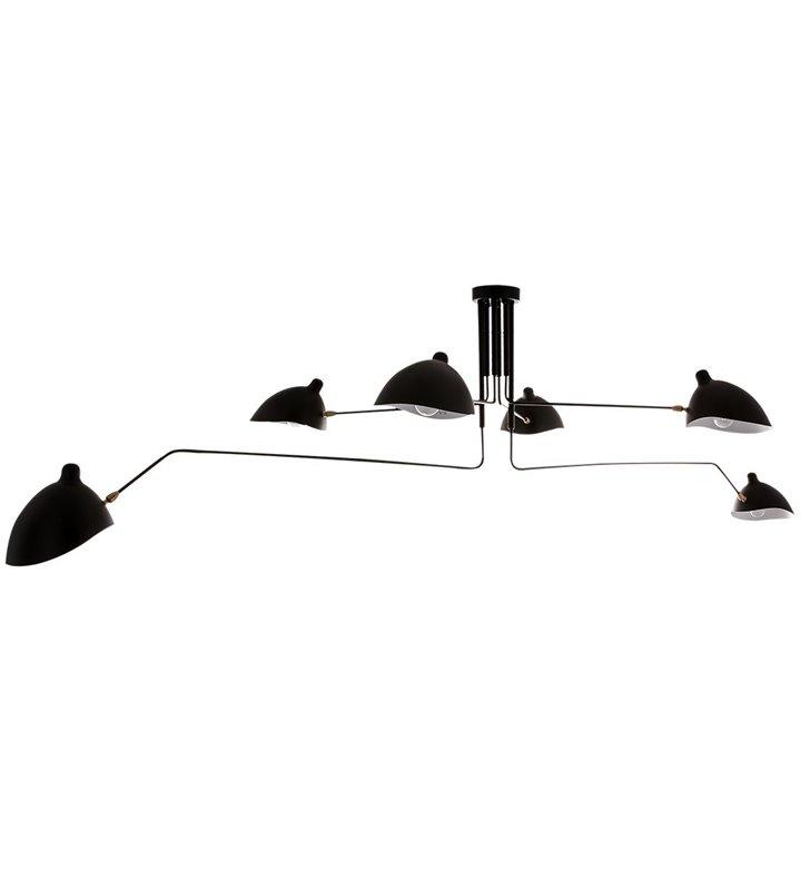 Duży designerski żyrandol lampa sufitowa 6 ramienna czarna Davis