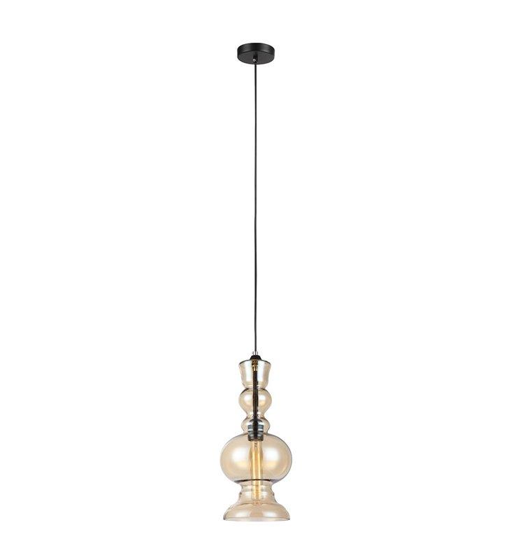 Lampa wisząca Matias ze szklanym dekoracyjnym kloszem w kolorze herbacianym