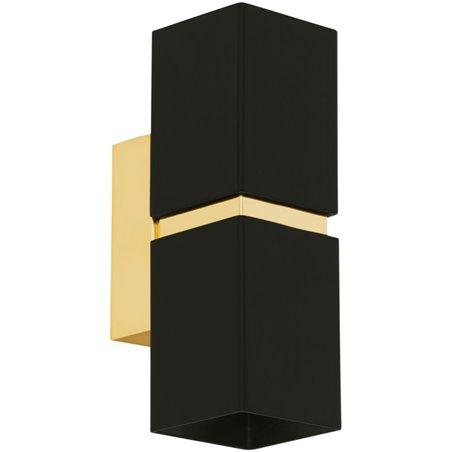 Kinkiet Passa czarno złoty dający pionowe światło