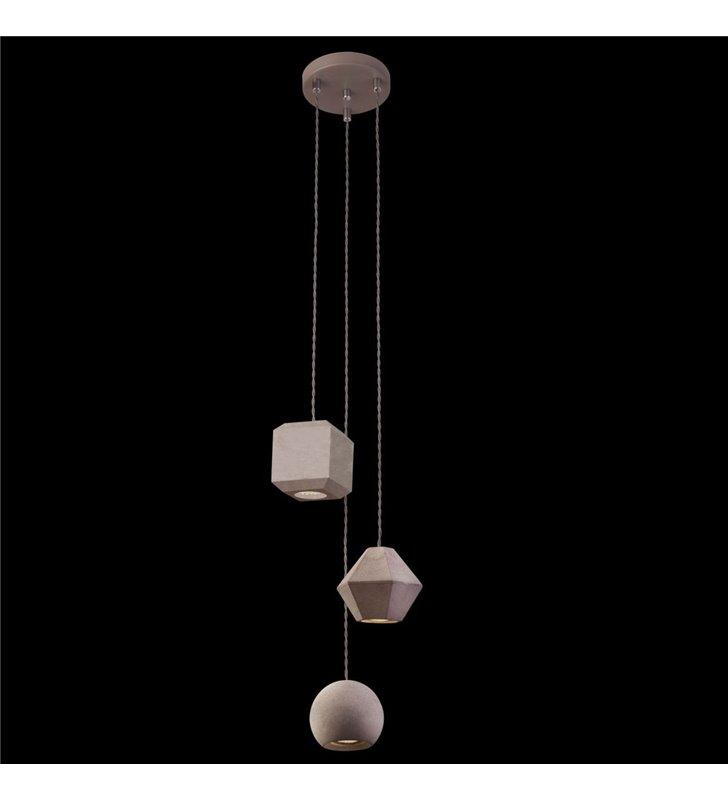 Lampa wisząca III zwis Geometric szara beton styl nowoczesny