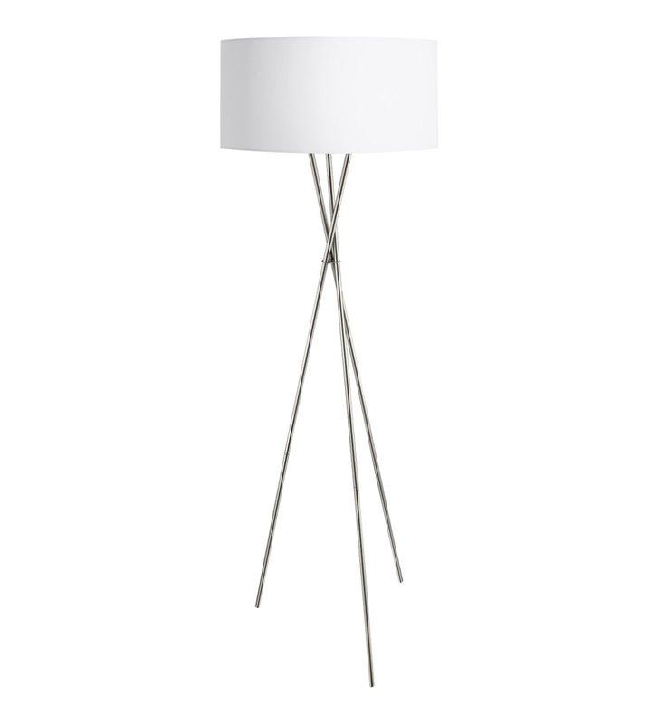 Fondachelli lampa podłogowa w nowoczesnym stylu abażur biały wewnątrz srebrny metalowy trójnóg do salonu sypialni