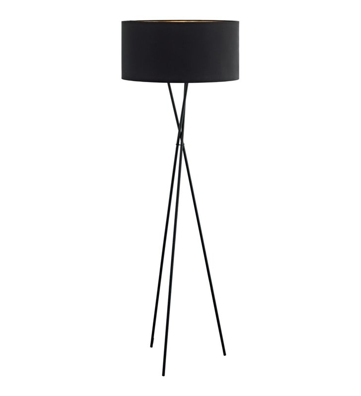 Fondachelli nowoczesna czarna lampa podłogowa abażur wewnątrz miedziany metalowy trójnóg do salonu sypialni