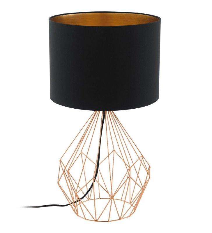 Lampa stołowa Pedregal1 czarno miedziana na drucianej podstawie